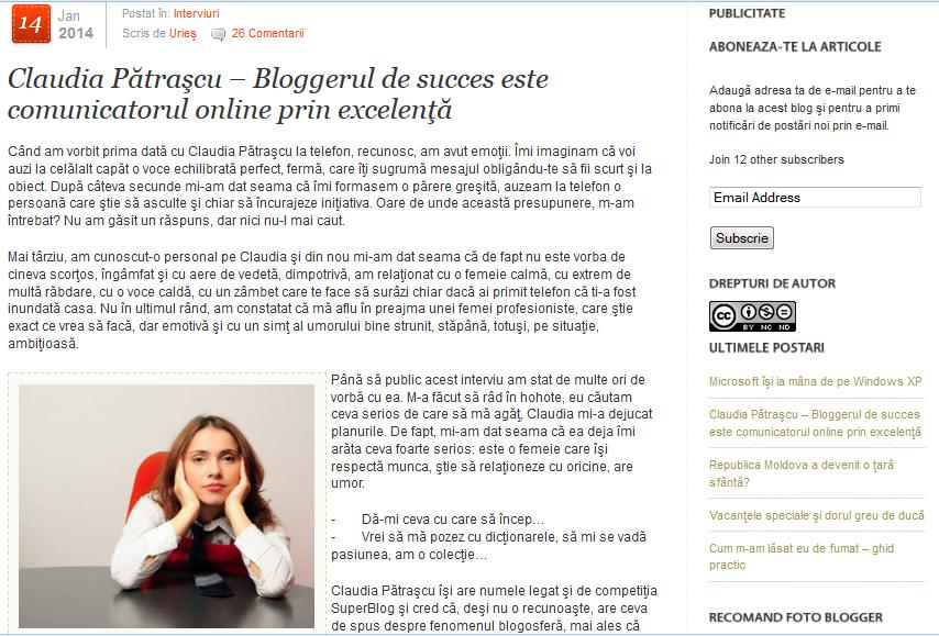 Interviu cu Claudia Patrascu, pe UriesBlog