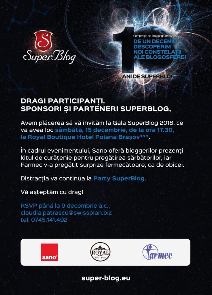 INVITAȚIE la Gala SuperBlog 2018